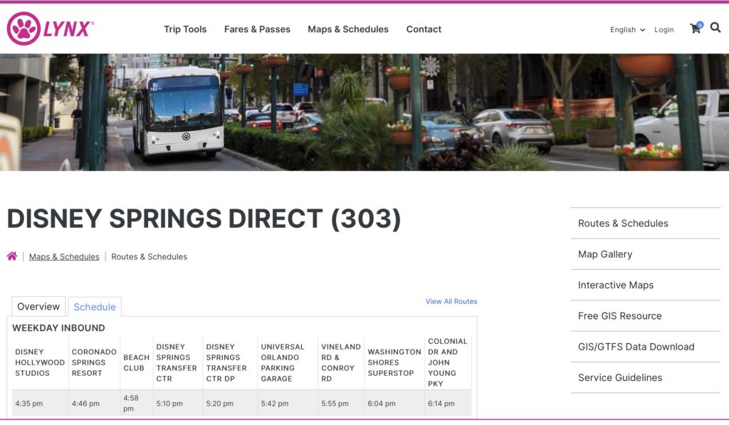 オーランドの路線バス、リンクスの公式サイトの画像