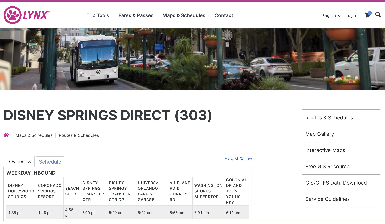 リンクスの公式サイトの画像。ディズニースプリングス路線の画面