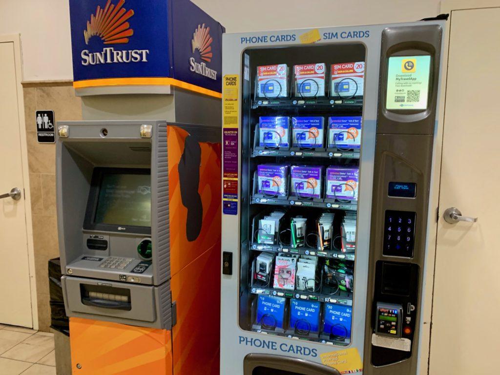 ATMとシムカードの販売機