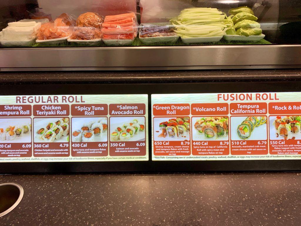 寿司のメニュー表