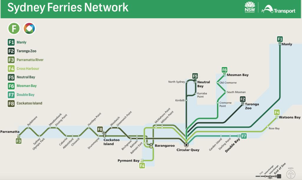 シドニーフェリの路線図