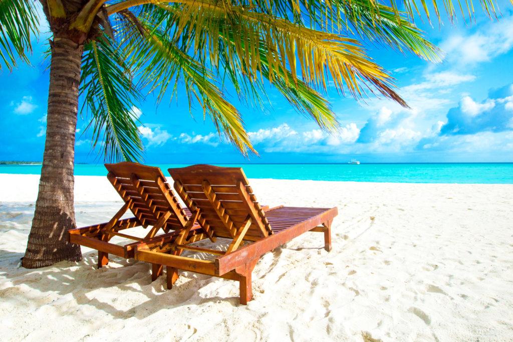 モルジブのリゾートのビーチと椰子の木陰に置かれた木製デッキチェア