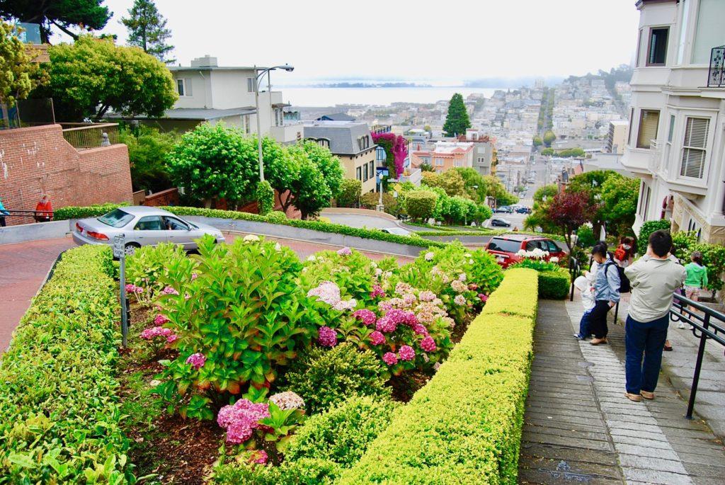 ロンバード通りの花壇と観光客