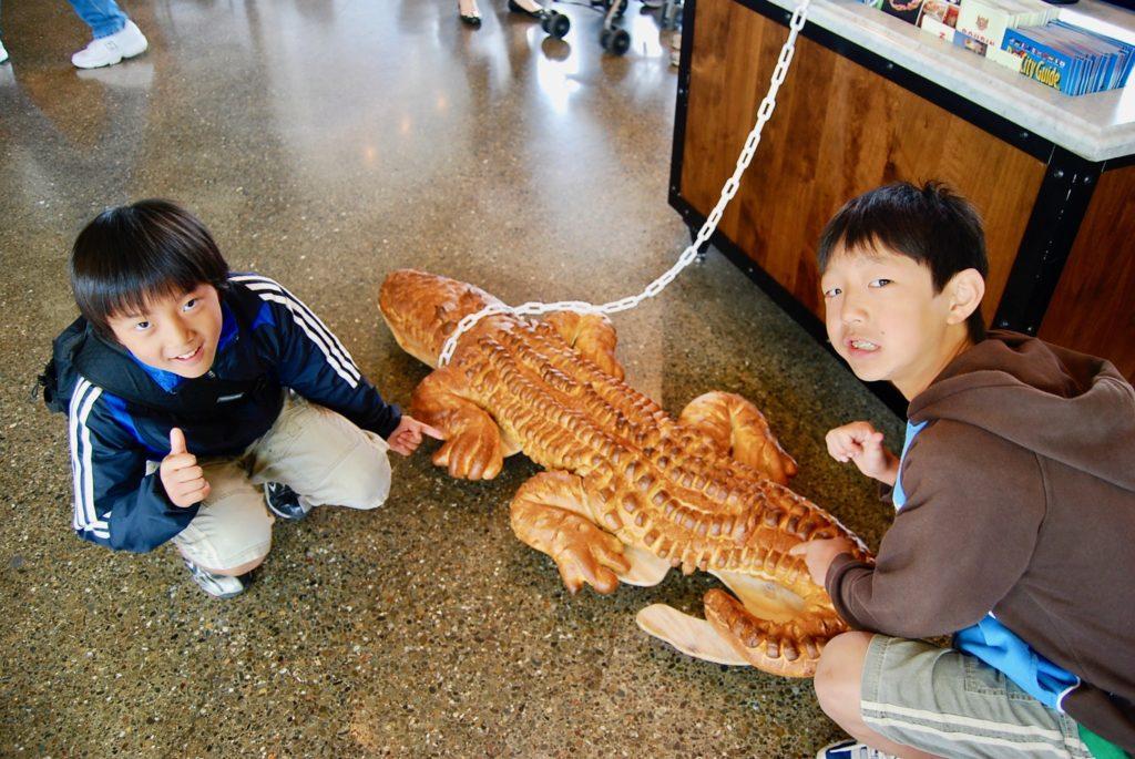 鎖に繋がれたワニの形のパンを見る子供達
