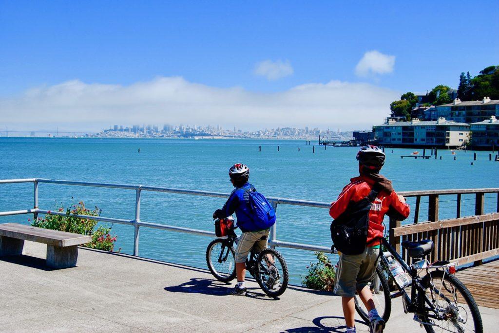 自転車にまたがっている次男と手で押している長男