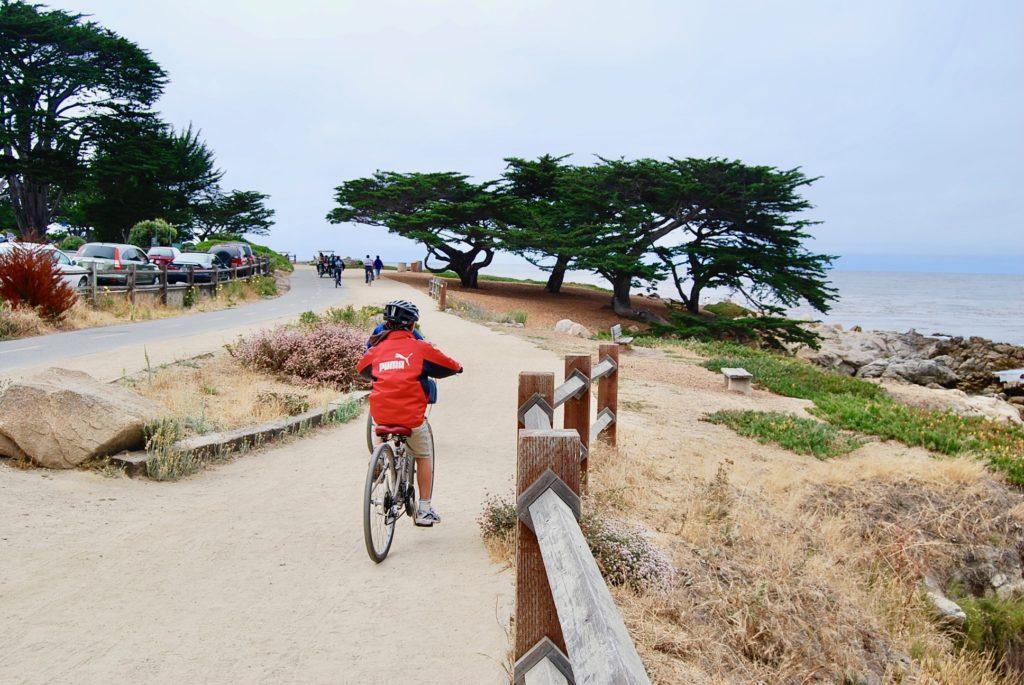 海沿のサイクリングロードを進む子供達