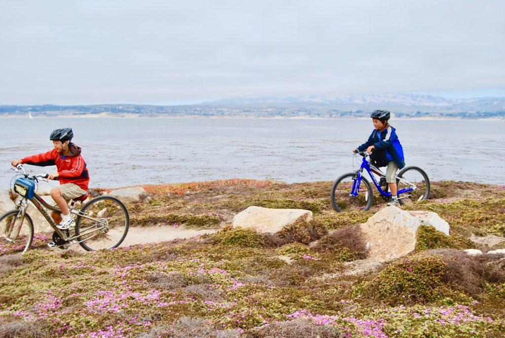 海を背景に並んで自転車を漕ぐ子供達