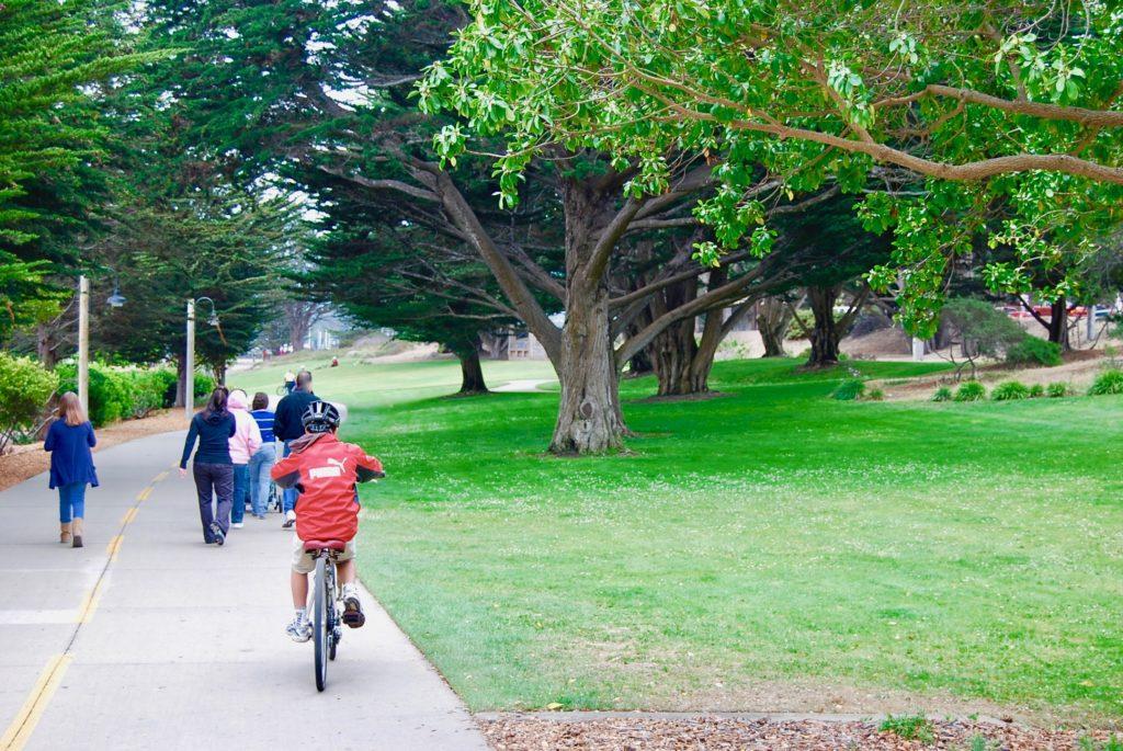 緑の芝の公園で自転車を漕ぐ