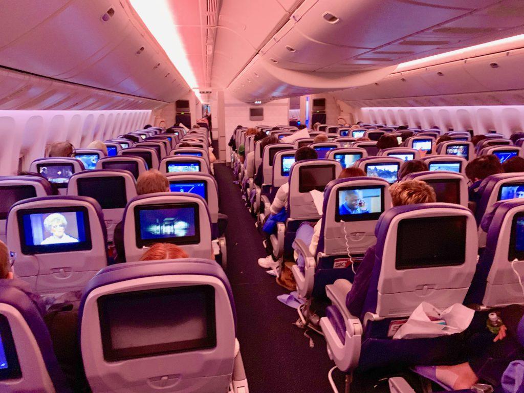 デルタ航空の客席の様子