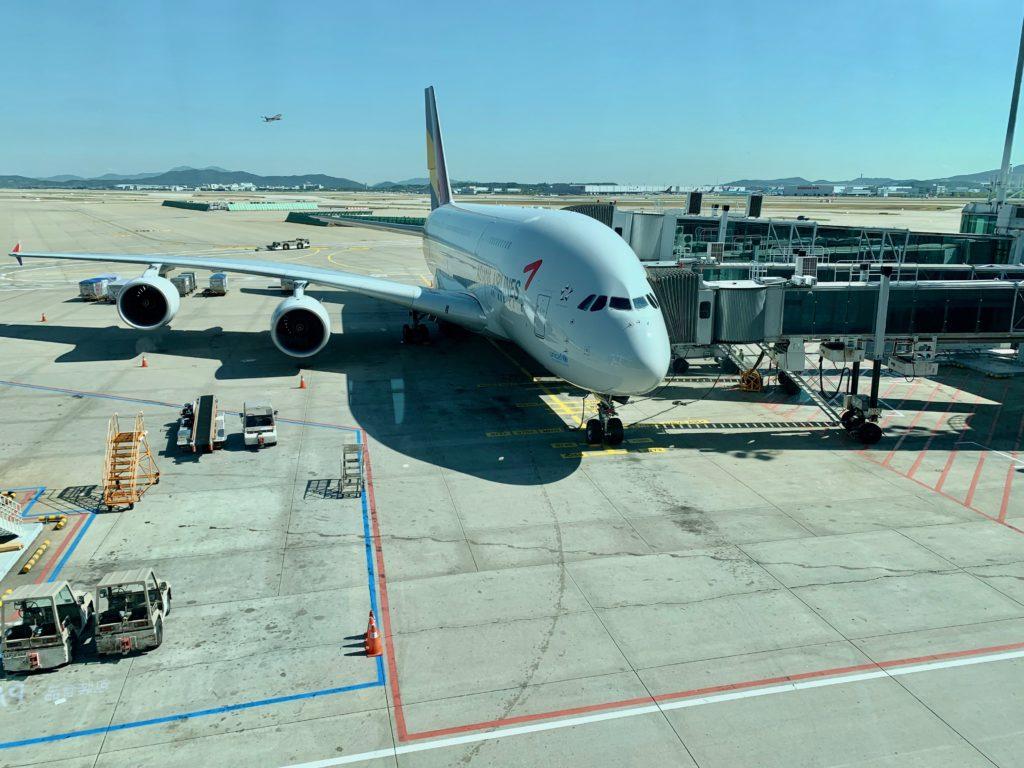ビジネスクラスに搭乗したアシアナ航空の機体