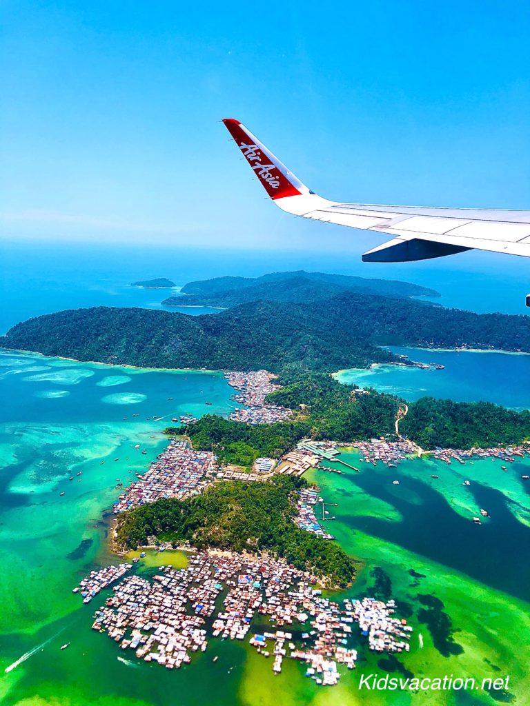 コタキナバル空港に着陸する前に見た空からの景色