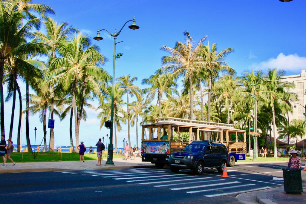ワイキキビーチのヤシの並木とカラカウア大通りを走るワイキキトロリー