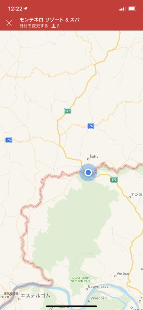 グーグルマップから引用した国境の地図