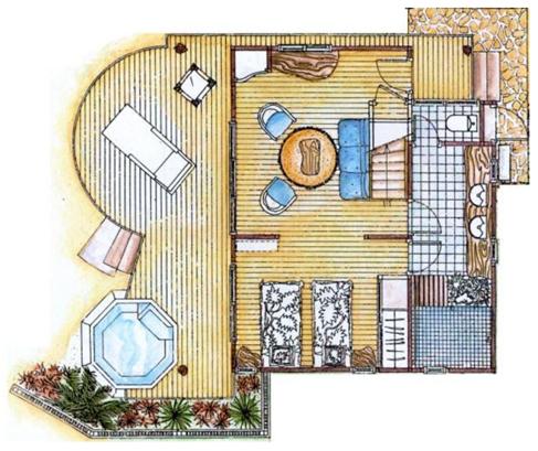 ホテルキアオラリゾートビーチデュプレックスバンガローの1階のフロアーマップ
