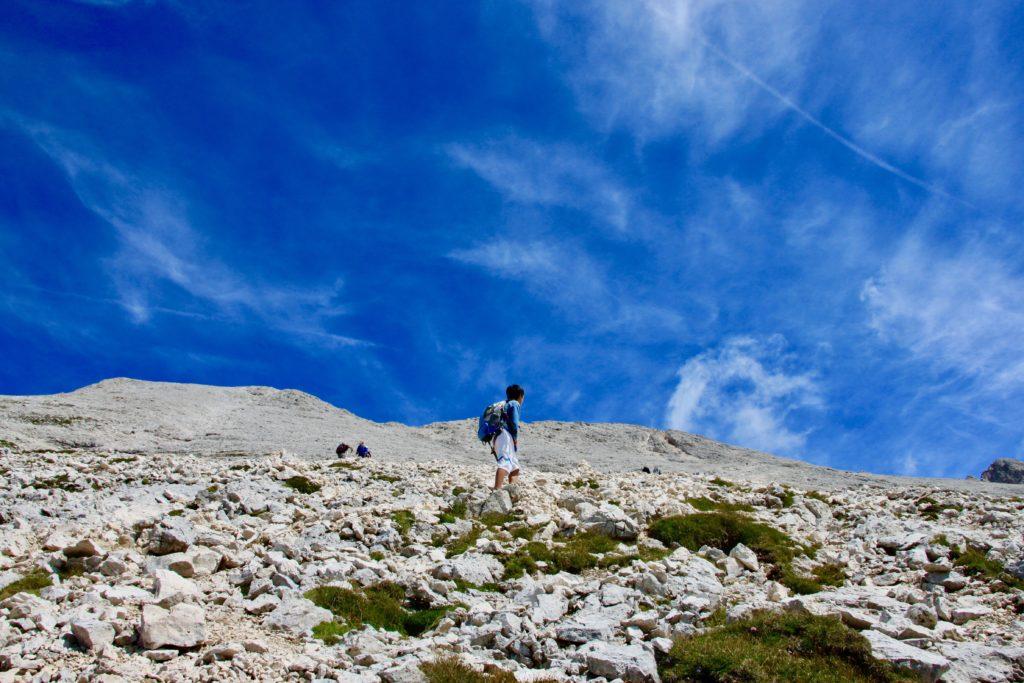 サッソピアットに登る次男