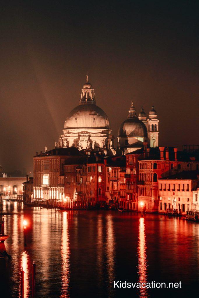 アカデミア橋の上から眺めるサンタ・マリア・デッラ・サルーテ聖堂とカナル・グランデの夜景