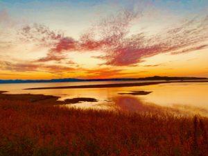 能取湖の夕日