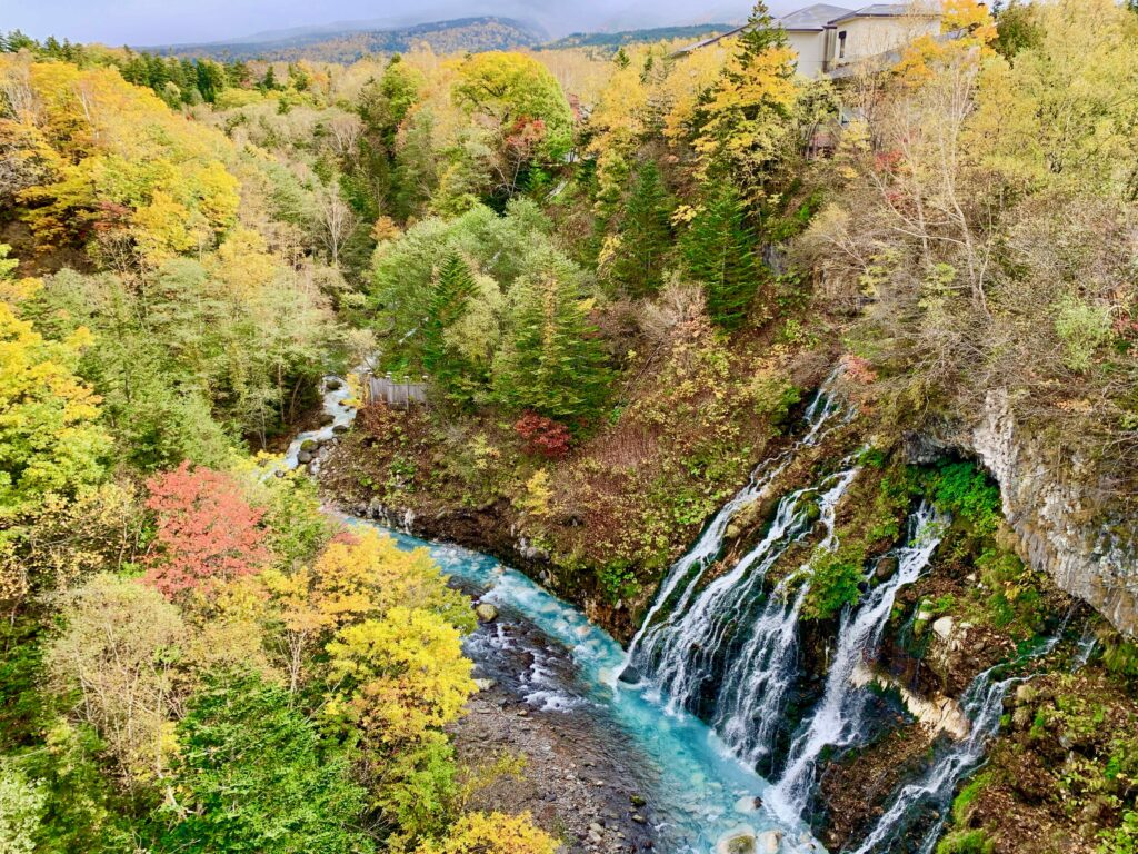 紅葉の渓谷を流れる青い川と白ひげの滝