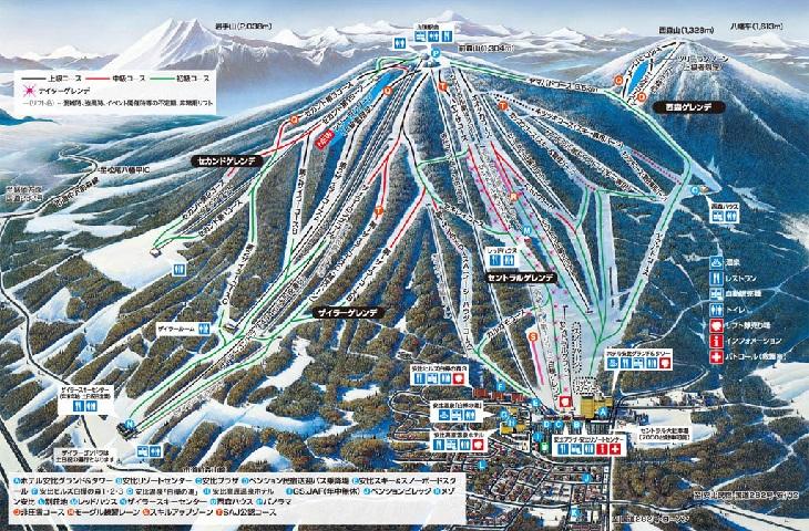 安比スキー場のゲレンデマップ