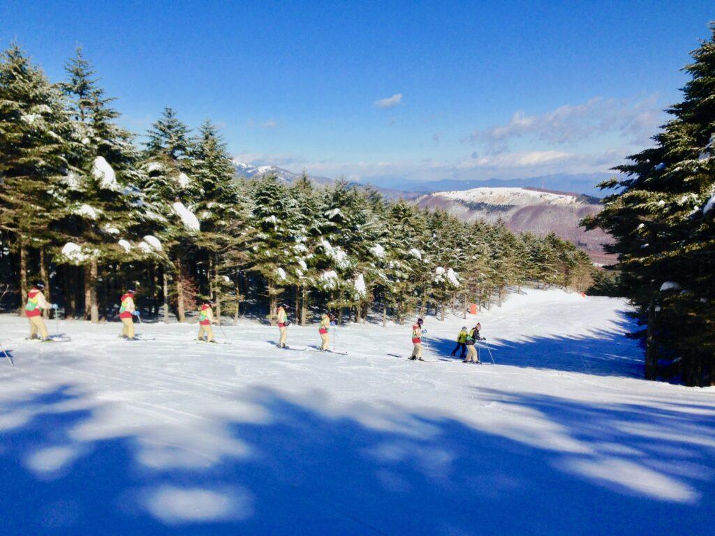 班ごとにスキーを習う