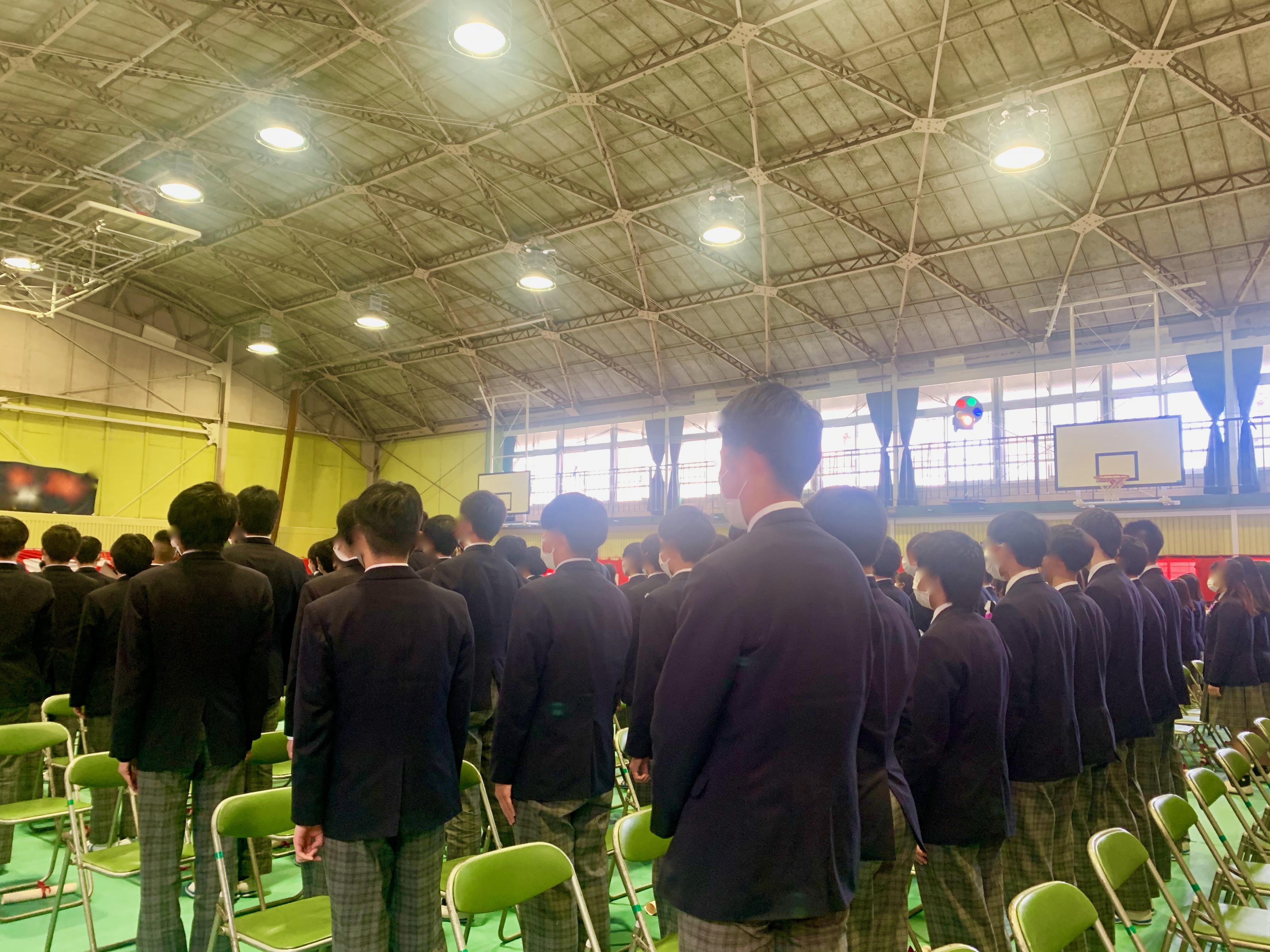 コロナ禍での中学校卒式