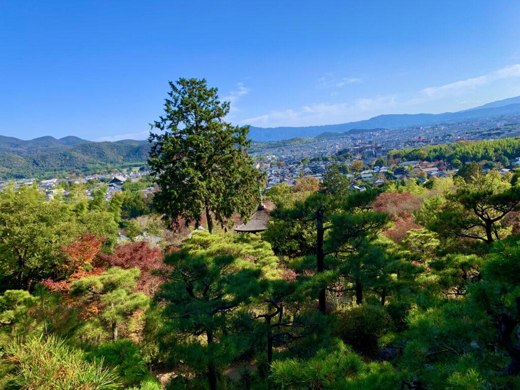 多宝塔越しに見る嵯峨野の景色