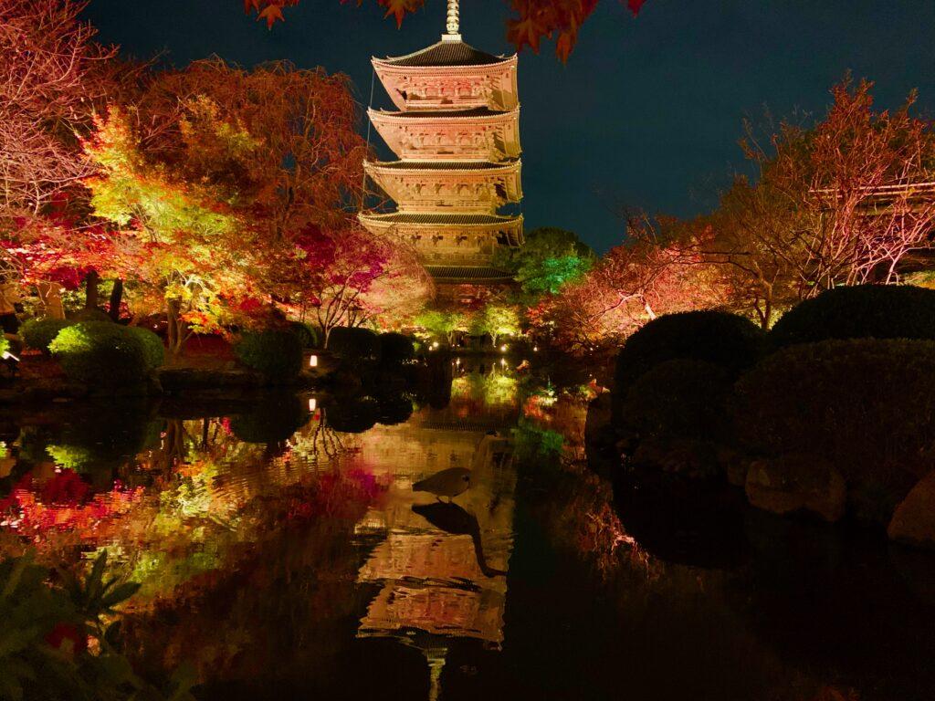 東寺五重塔のライトアップ