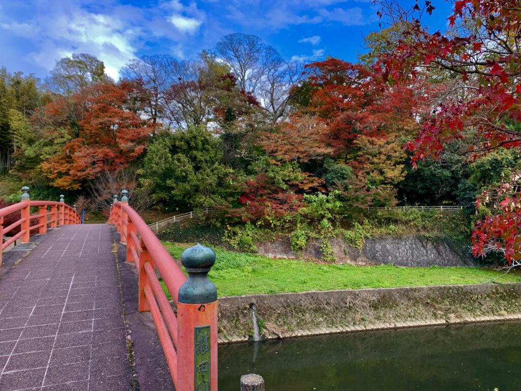 竜田川にかかる紅葉橋