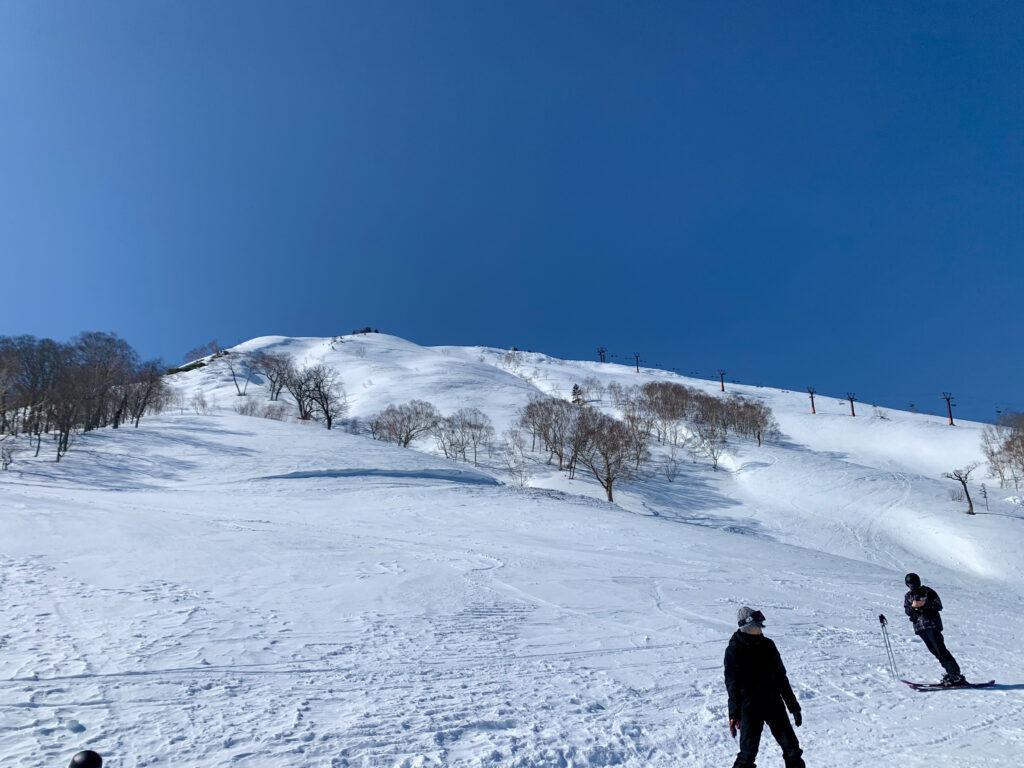 筍平ロマンスリフトの終点から筍山を見上げる